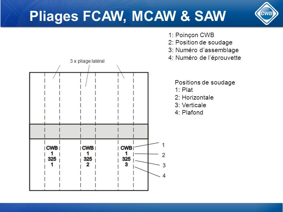 Pliages FCAW, MCAW & SAW 1: Poinçon CWB 2: Position de soudage