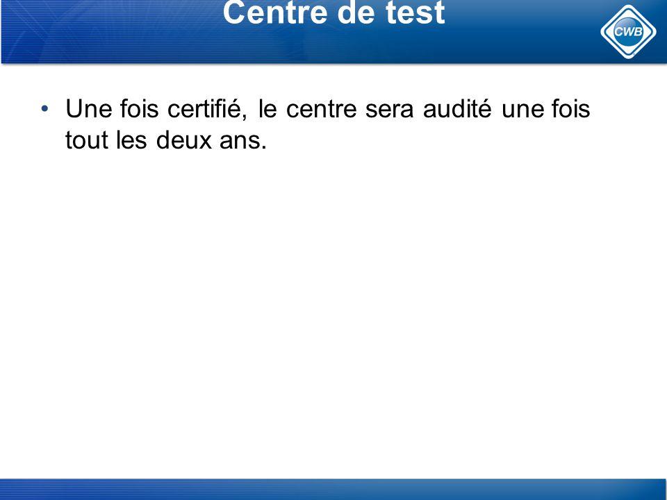 Centre de test Une fois certifié, le centre sera audité une fois tout les deux ans.