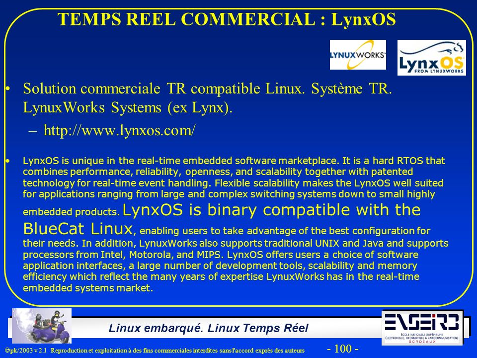 TEMPS REEL COMMERCIAL : LynxOS