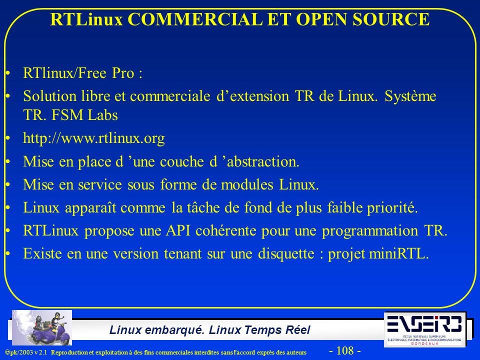 RTLinux COMMERCIAL ET OPEN SOURCE