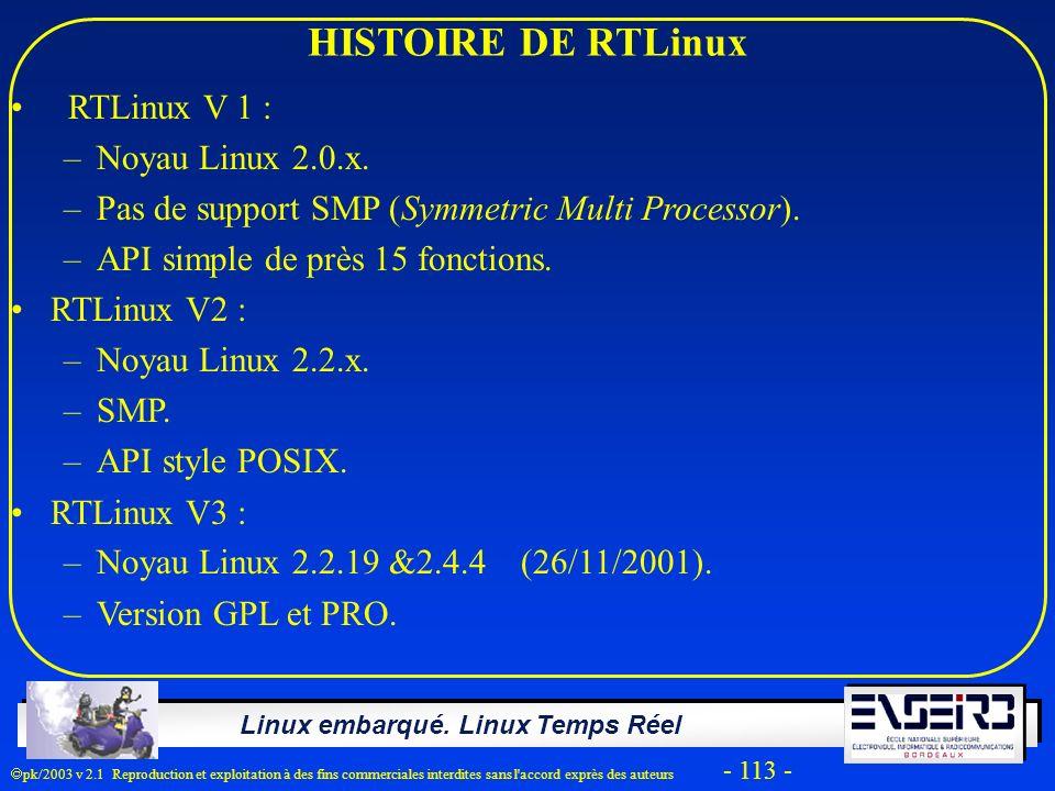 HISTOIRE DE RTLinux RTLinux V 1 : Noyau Linux 2.0.x.