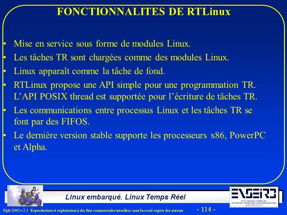 FONCTIONNALITES DE RTLinux
