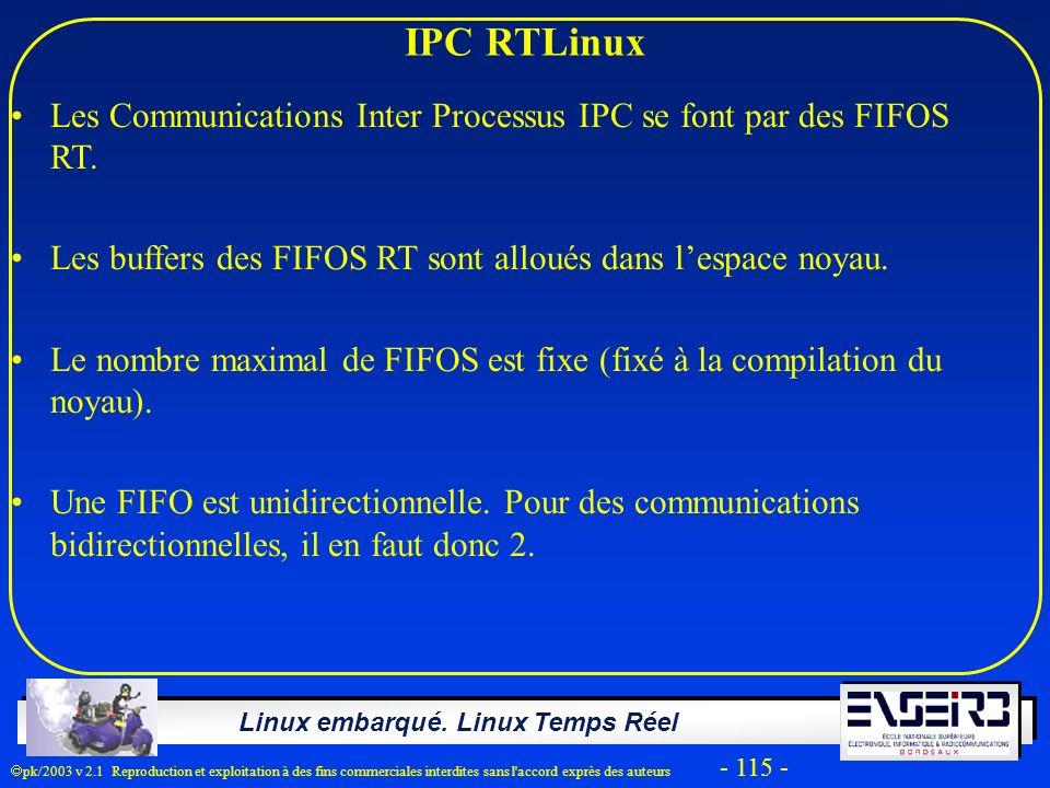 IPC RTLinux Les Communications Inter Processus IPC se font par des FIFOS RT. Les buffers des FIFOS RT sont alloués dans l'espace noyau.