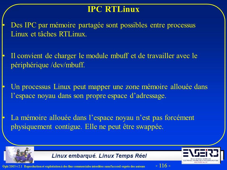 IPC RTLinux Des IPC par mémoire partagée sont possibles entre processus Linux et tâches RTLinux.