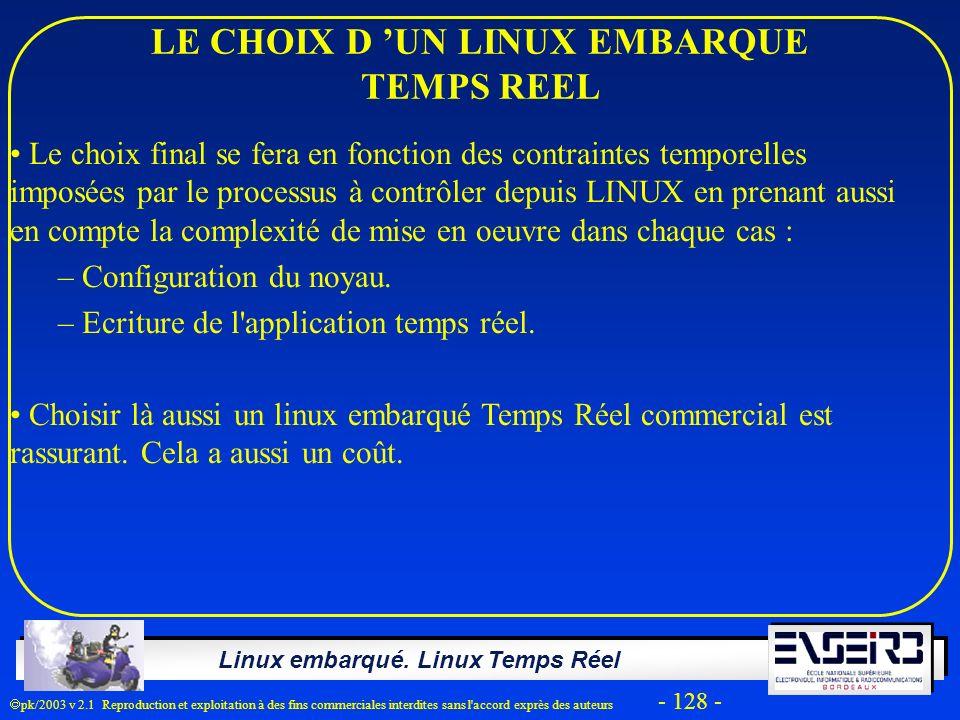 LE CHOIX D 'UN LINUX EMBARQUE TEMPS REEL