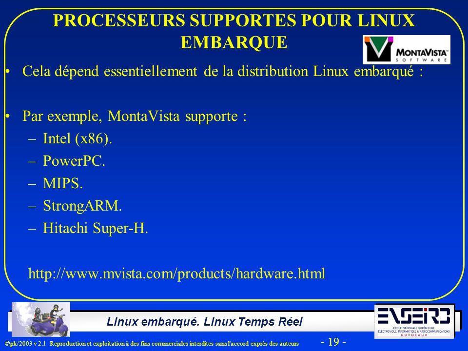 PROCESSEURS SUPPORTES POUR LINUX EMBARQUE