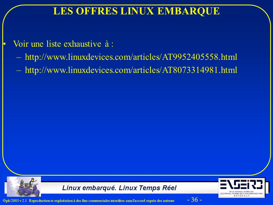 LES OFFRES LINUX EMBARQUE