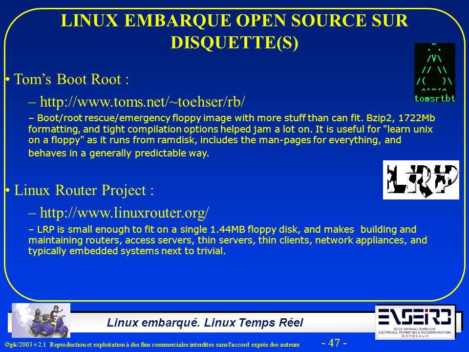LINUX EMBARQUE OPEN SOURCE SUR DISQUETTE(S)