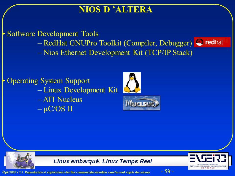NIOS D 'ALTERA Software Development Tools