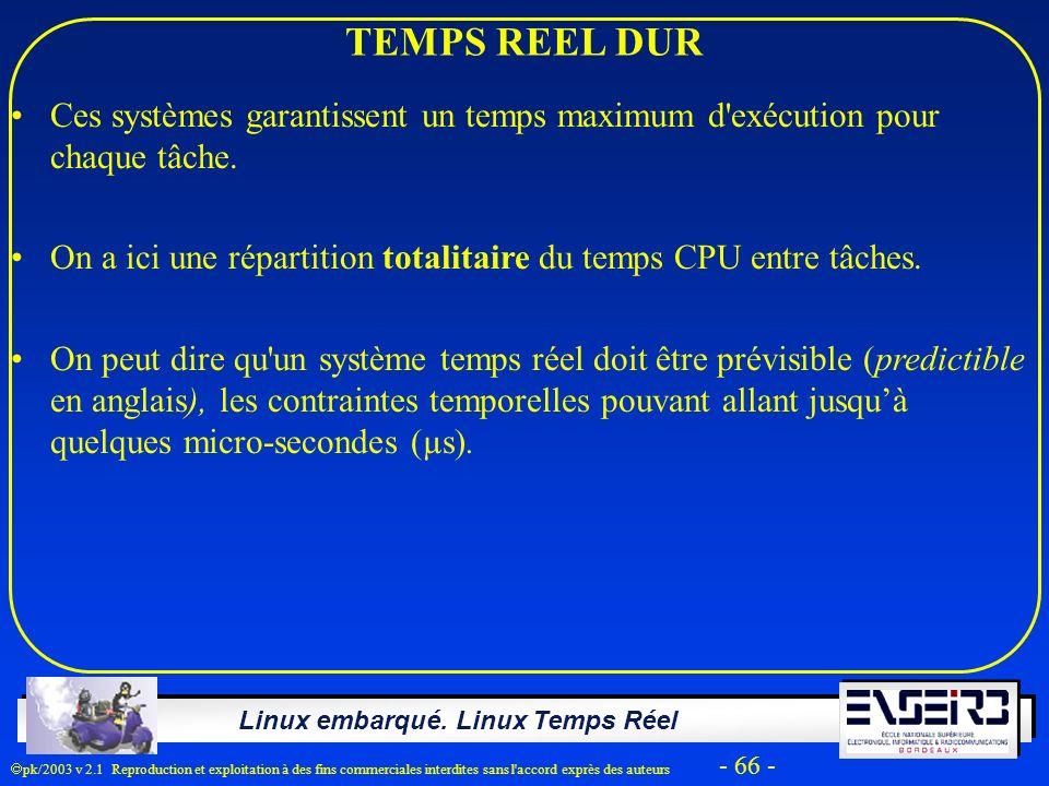 TEMPS REEL DUR Ces systèmes garantissent un temps maximum d exécution pour chaque tâche.