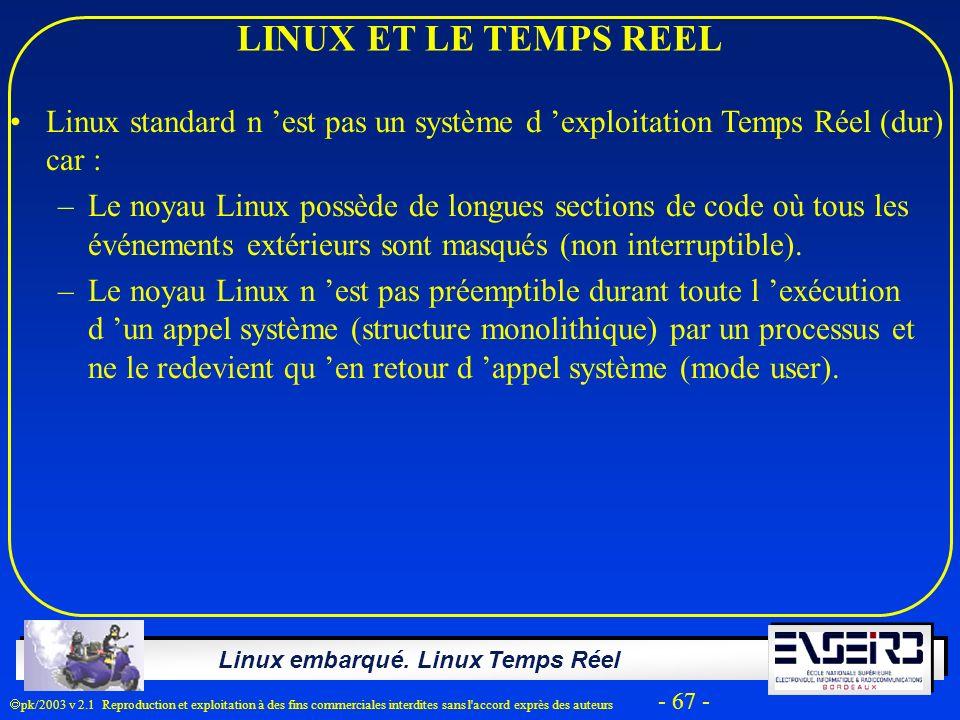 LINUX ET LE TEMPS REEL Linux standard n 'est pas un système d 'exploitation Temps Réel (dur) car :