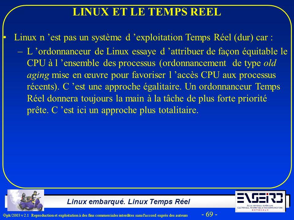 LINUX ET LE TEMPS REEL Linux n 'est pas un système d 'exploitation Temps Réel (dur) car :