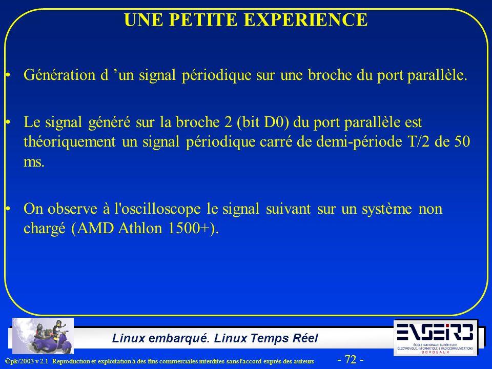 UNE PETITE EXPERIENCE Génération d 'un signal périodique sur une broche du port parallèle.