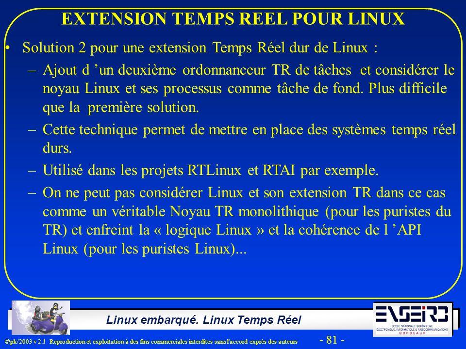 EXTENSION TEMPS REEL POUR LINUX