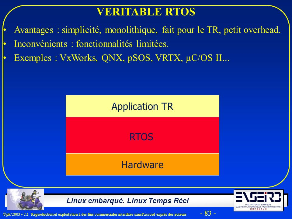VERITABLE RTOS Avantages : simplicité, monolithique, fait pour le TR, petit overhead. Inconvénients : fonctionnalités limitées.
