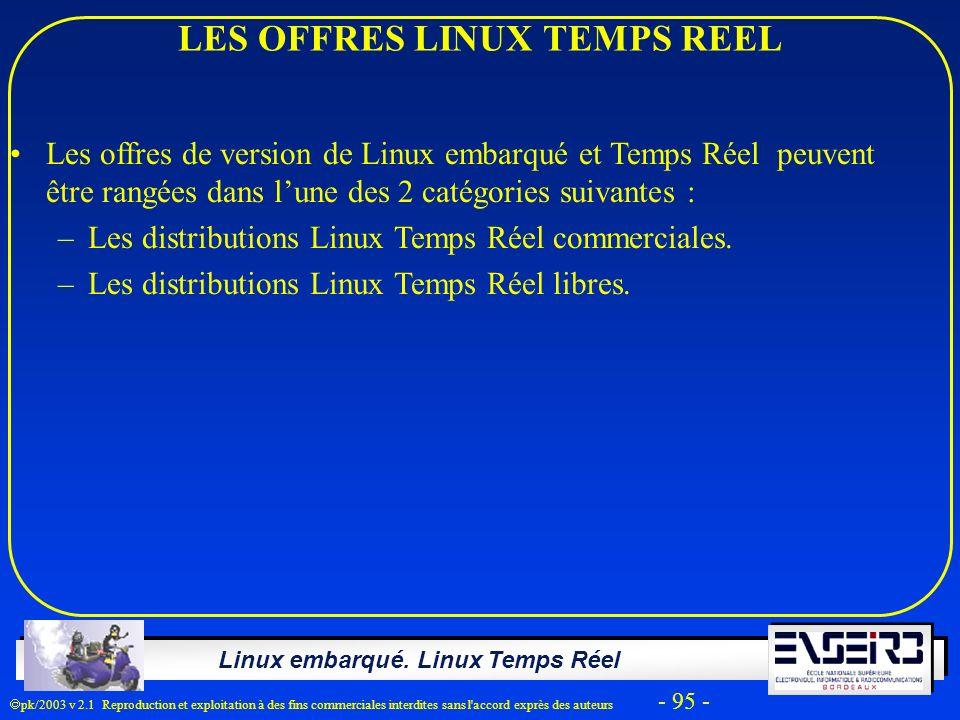 LES OFFRES LINUX TEMPS REEL