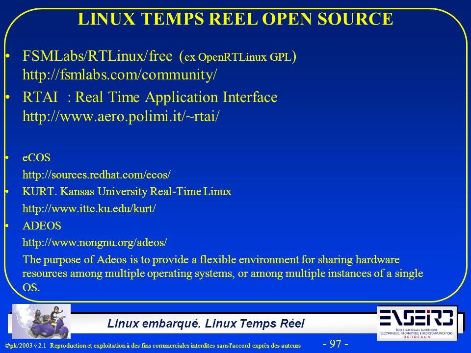 LINUX TEMPS REEL OPEN SOURCE