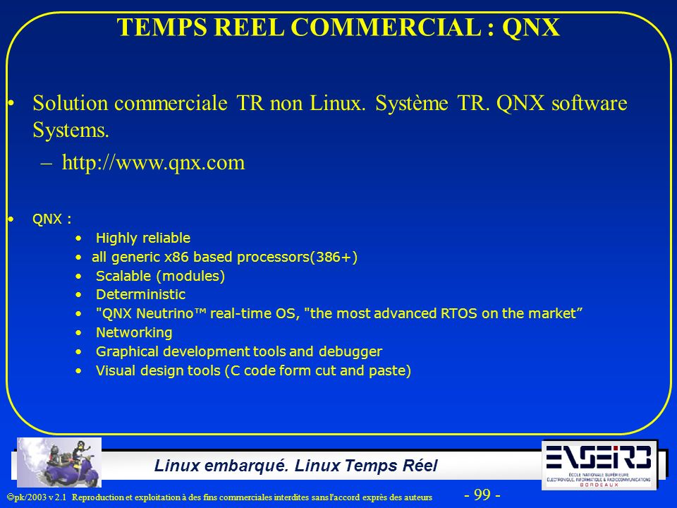 TEMPS REEL COMMERCIAL : QNX