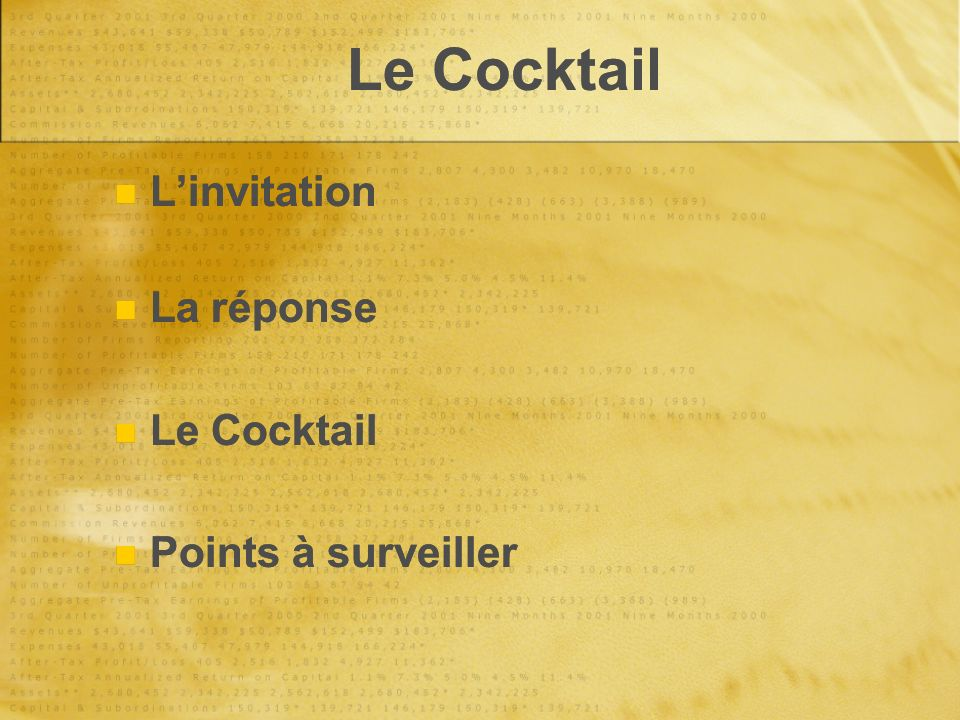 Le Cocktail L'invitation La réponse Le Cocktail Points à surveiller