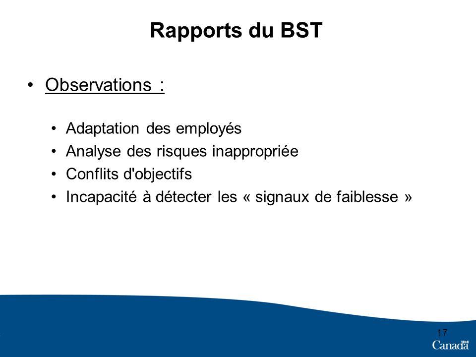 Rapports du BST Observations : Adaptation des employés