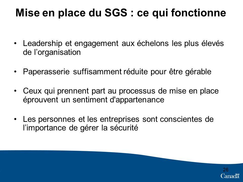 Mise en place du SGS : ce qui fonctionne