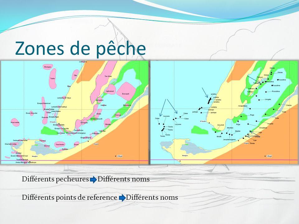 Zones de pêche Différents pecheures Différents noms