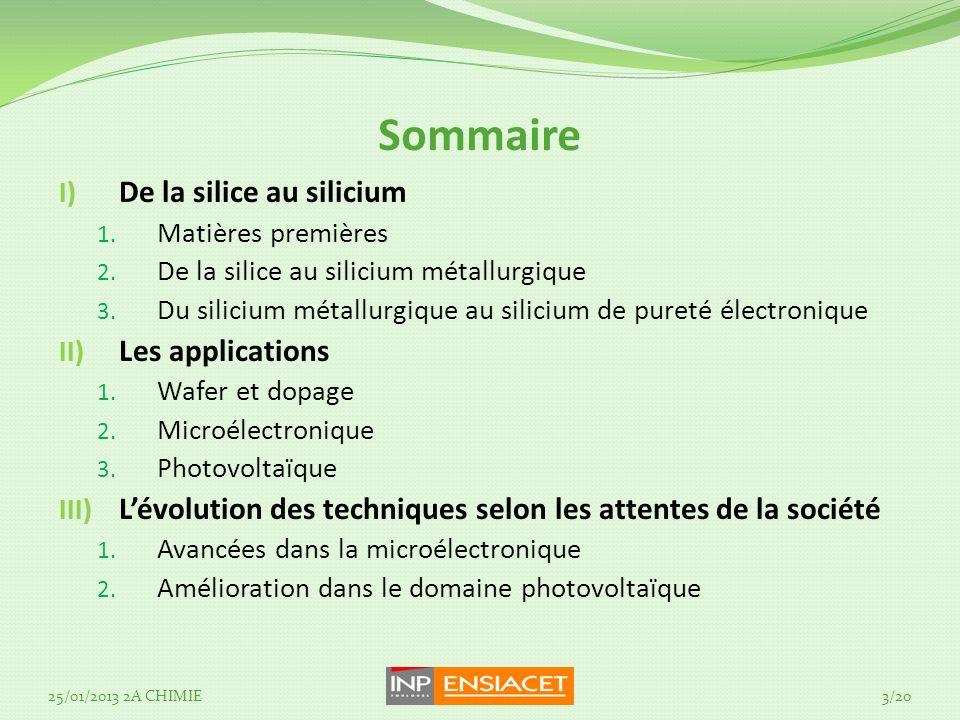 Sommaire De la silice au silicium Les applications