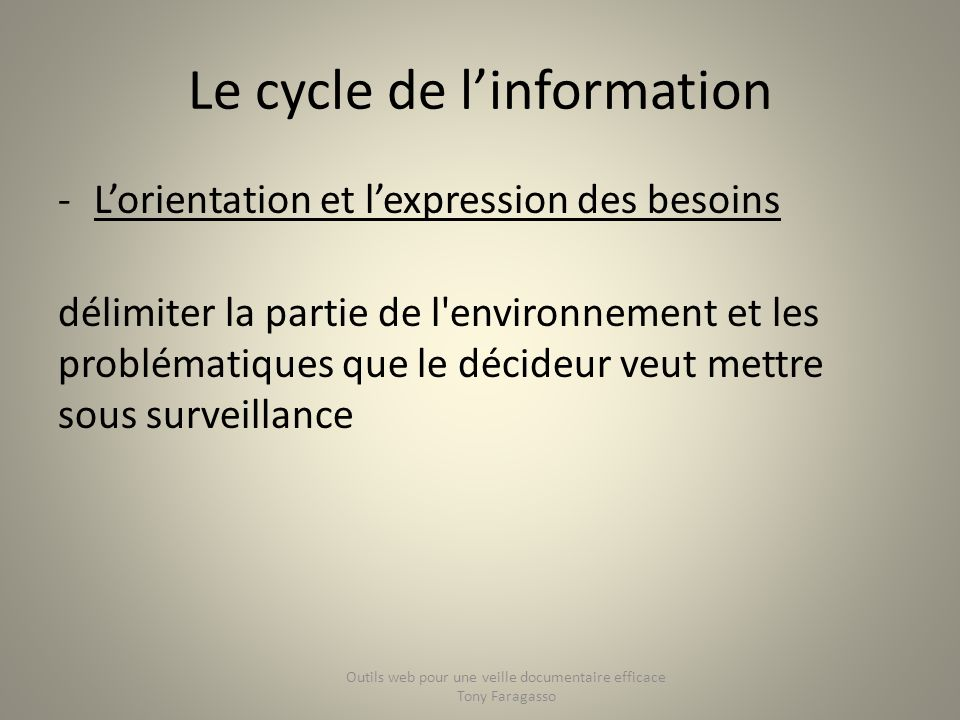 Le cycle de l'information