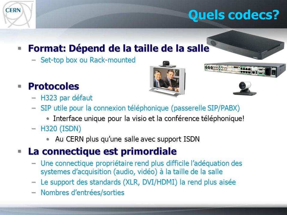 Quels codecs Format: Dépend de la taille de la salle Protocoles