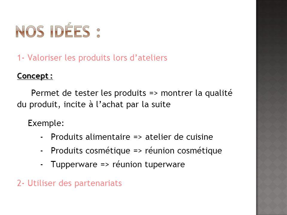 Nos idées : 1- Valoriser les produits lors d'ateliers
