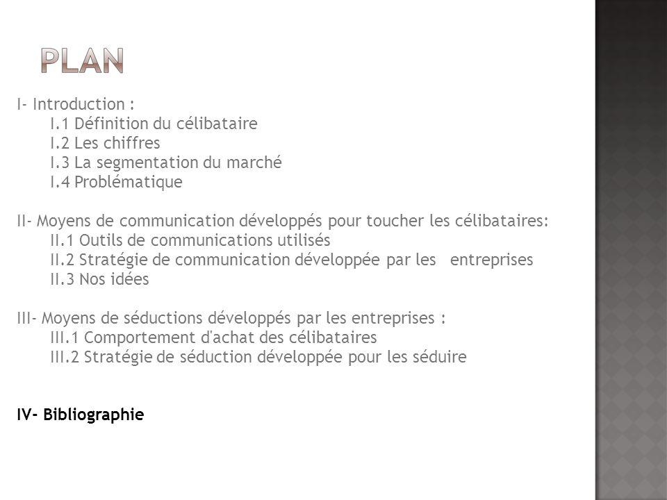 I- Introduction : I.1 Définition du célibataire. I.2 Les chiffres. I.3 La segmentation du marché.