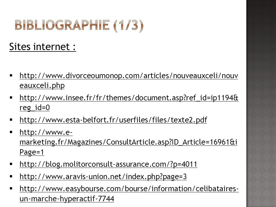 Bibliographie (1/3) Sites internet :