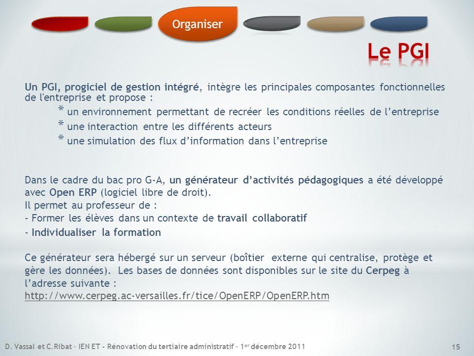 Organiser Le PGI. Un PGI, progiciel de gestion intégré, intègre les principales composantes fonctionnelles de l entreprise et propose :