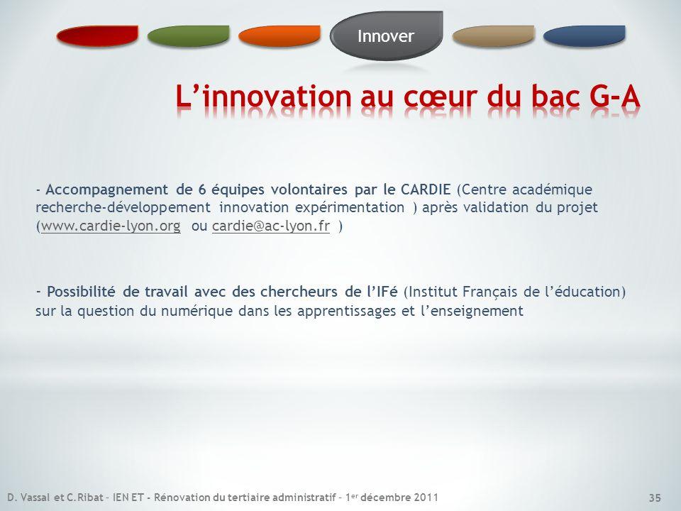 L'innovation au cœur du bac G-A