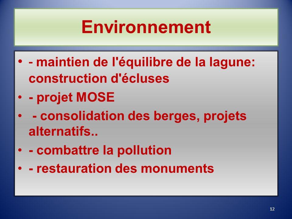 Environnement - maintien de l équilibre de la lagune: construction d écluses. - projet MOSE. - consolidation des berges, projets alternatifs..