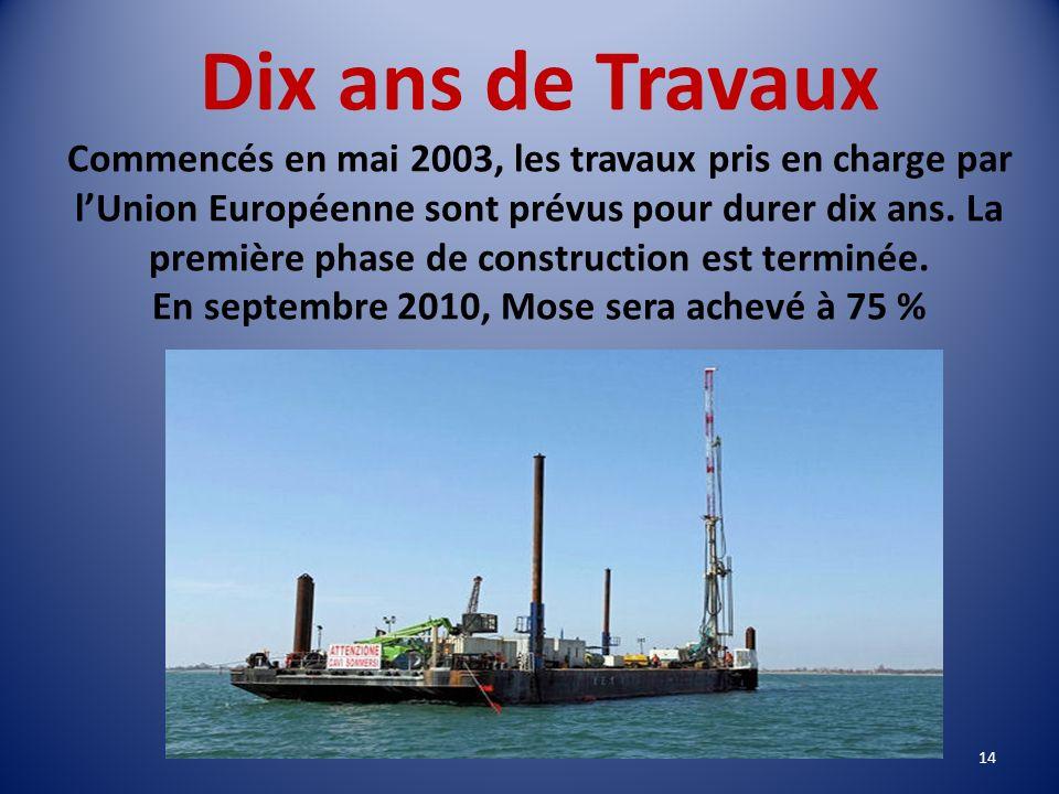 Dix ans de Travaux Commencés en mai 2003, les travaux pris en charge par l'Union Européenne sont prévus pour durer dix ans.