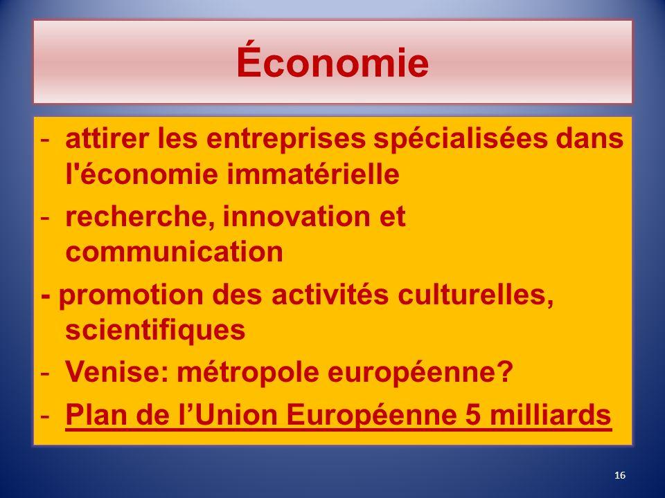 Économie attirer les entreprises spécialisées dans l économie immatérielle. recherche, innovation et communication.