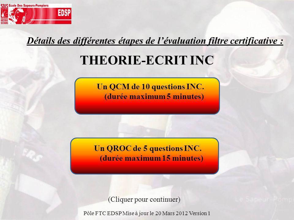 Détails des différentes étapes de l'évaluation filtre certificative :
