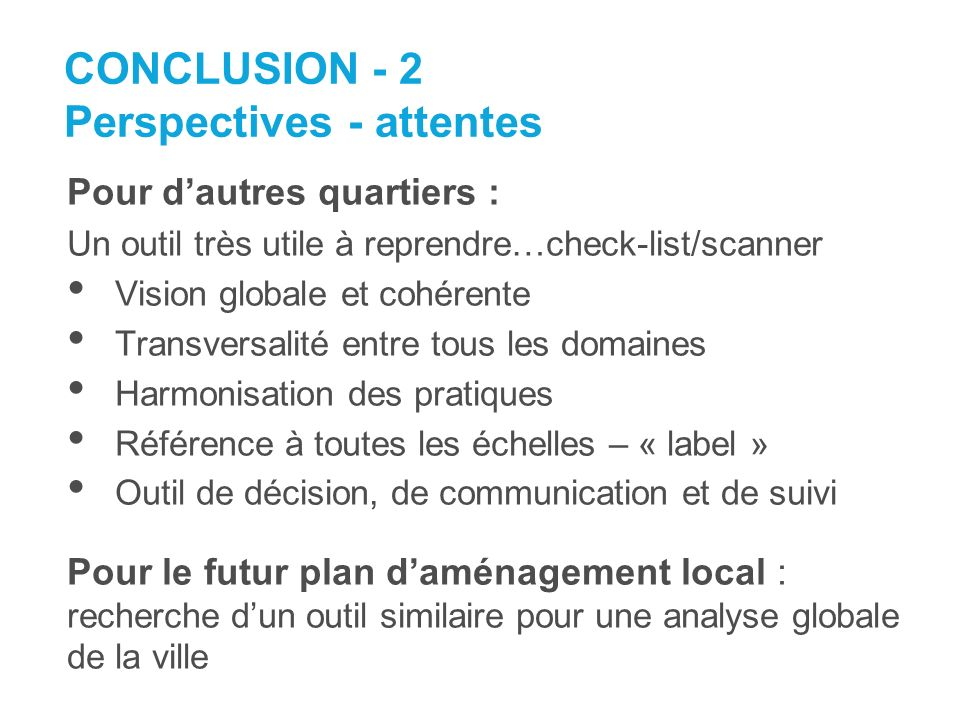CONCLUSION - 2 Perspectives - attentes
