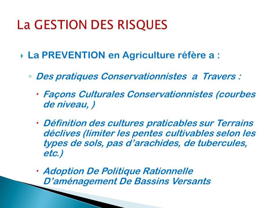 La GESTION DES RISQUES La PREVENTION en Agriculture réfère a :