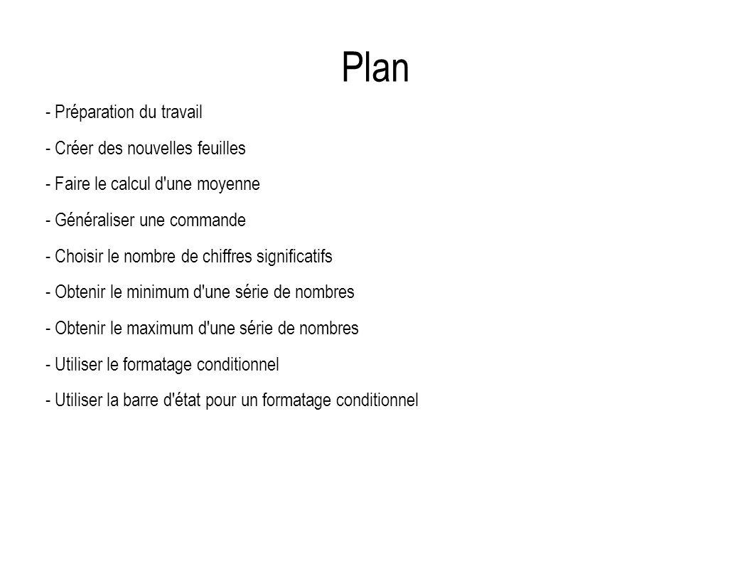 Plan - Préparation du travail - Créer des nouvelles feuilles