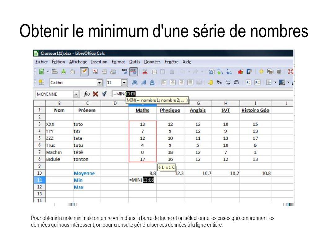 Obtenir le minimum d une série de nombres