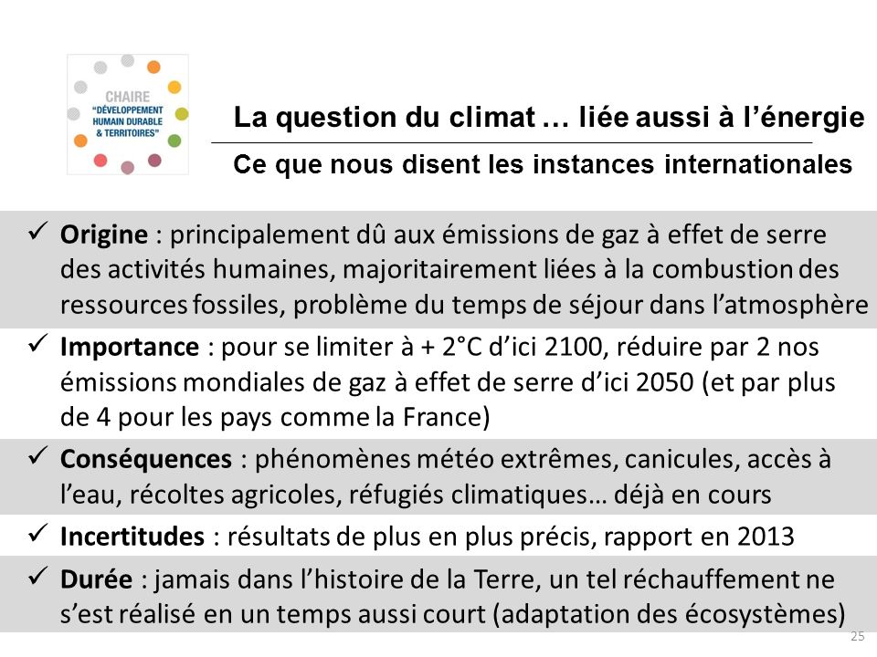 La question du climat … liée aussi à l'énergie