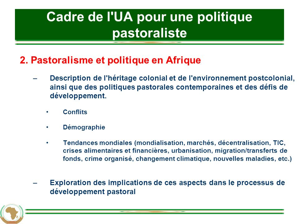 Cadre de l UA pour une politique pastoraliste