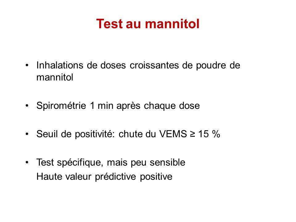 Test au mannitol Inhalations de doses croissantes de poudre de mannitol. Spirométrie 1 min après chaque dose.