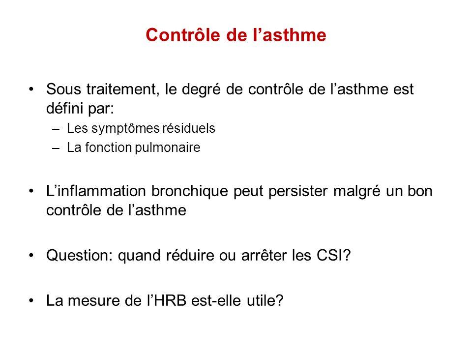 Contrôle de l'asthme Sous traitement, le degré de contrôle de l'asthme est défini par: Les symptômes résiduels.