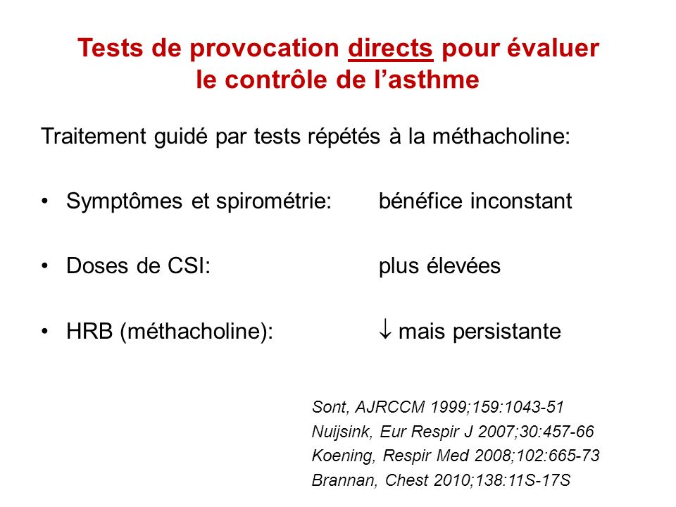 Tests de provocation directs pour évaluer le contrôle de l'asthme