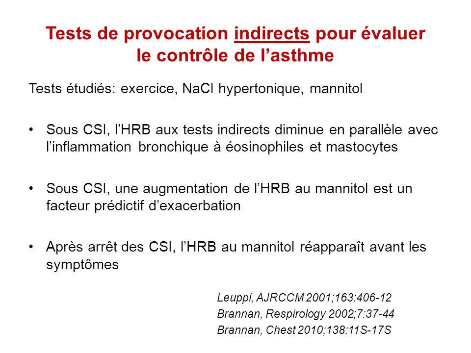 Tests de provocation indirects pour évaluer le contrôle de l'asthme