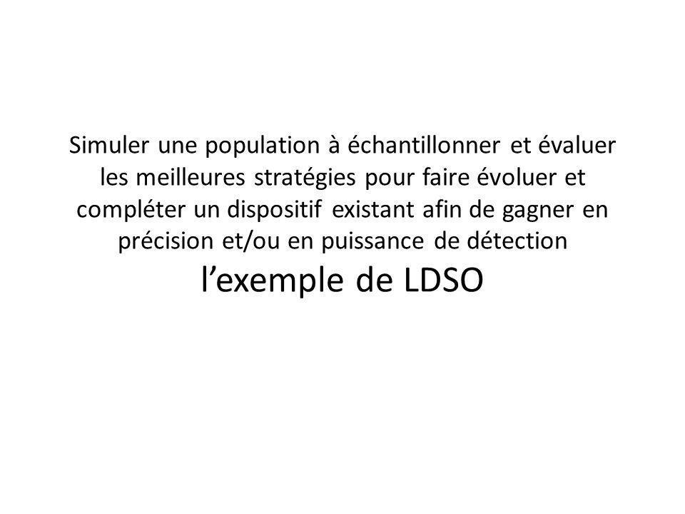 Simuler une population à échantillonner et évaluer les meilleures stratégies pour faire évoluer et compléter un dispositif existant afin de gagner en précision et/ou en puissance de détection l'exemple de LDSO