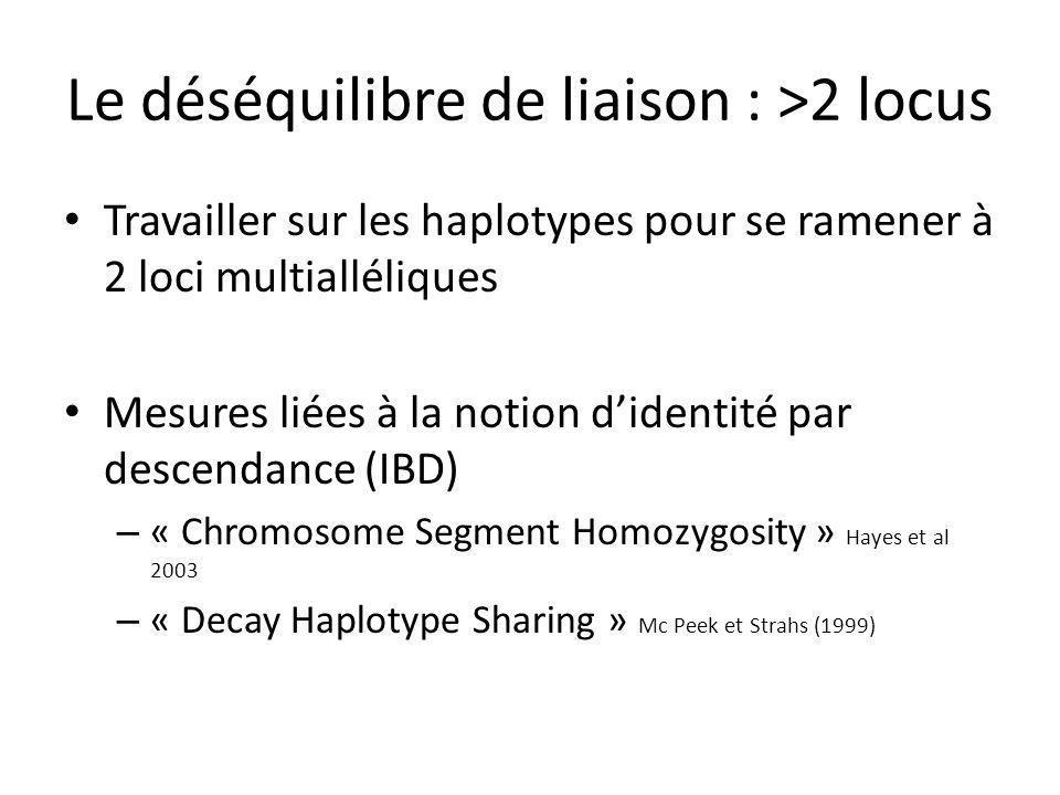 Le déséquilibre de liaison : >2 locus